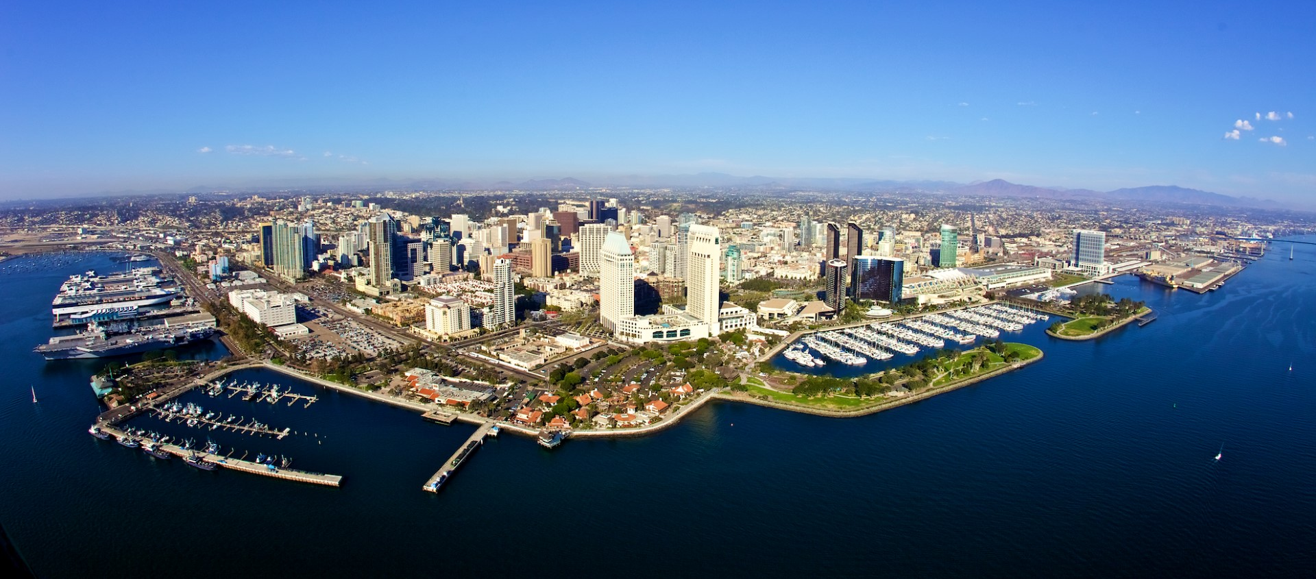Panorama aerial view of San Diego from the bay