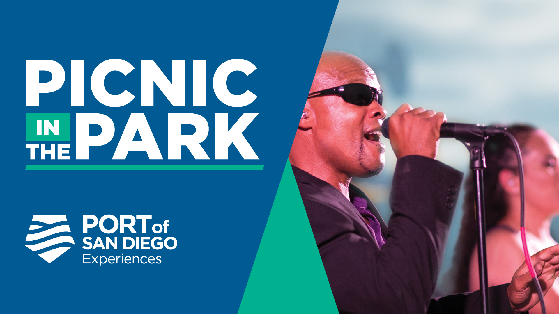 "half graphic with text reading ""Picknic in the Park. Port of San Diego Experiences"" with a photo of a man signing into a microphone."