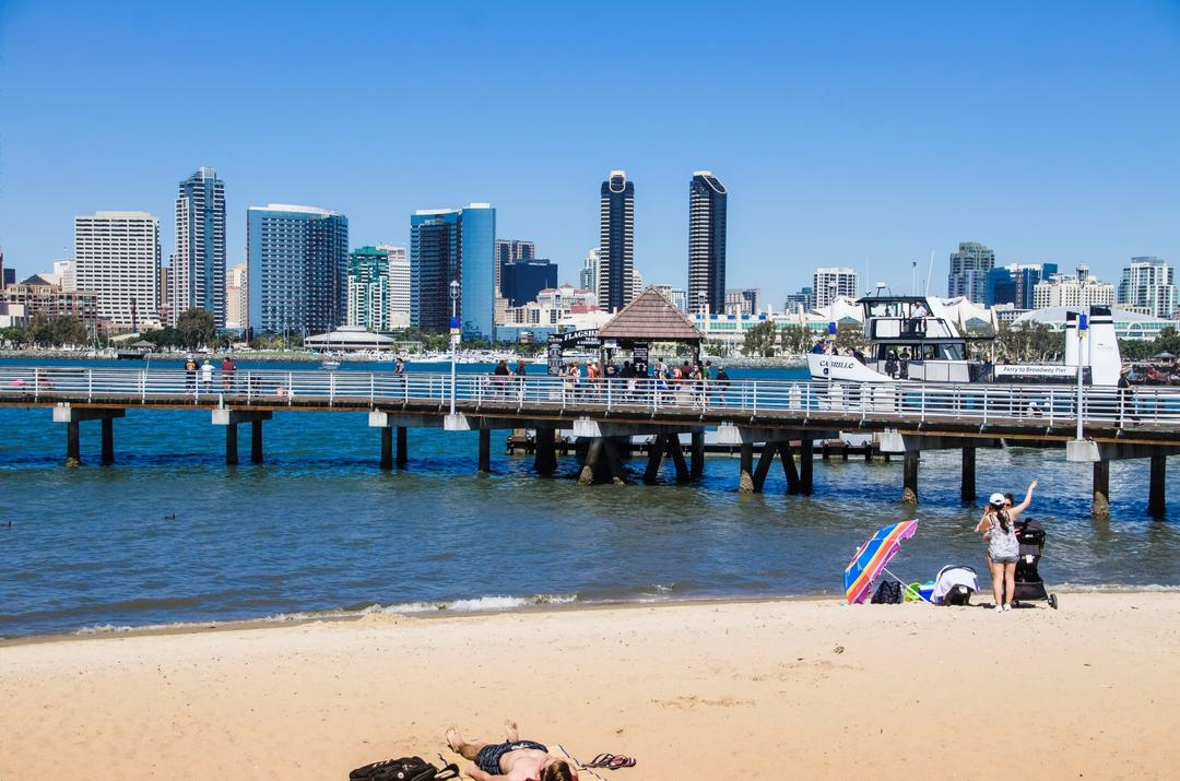 A view towards downtown San Diego from Coronado Ferry Landing Park beach