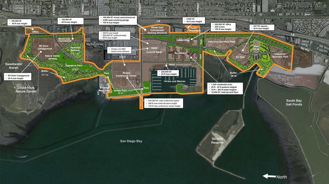 Illustrative map of the Chula Vista Bayfront Master Plan