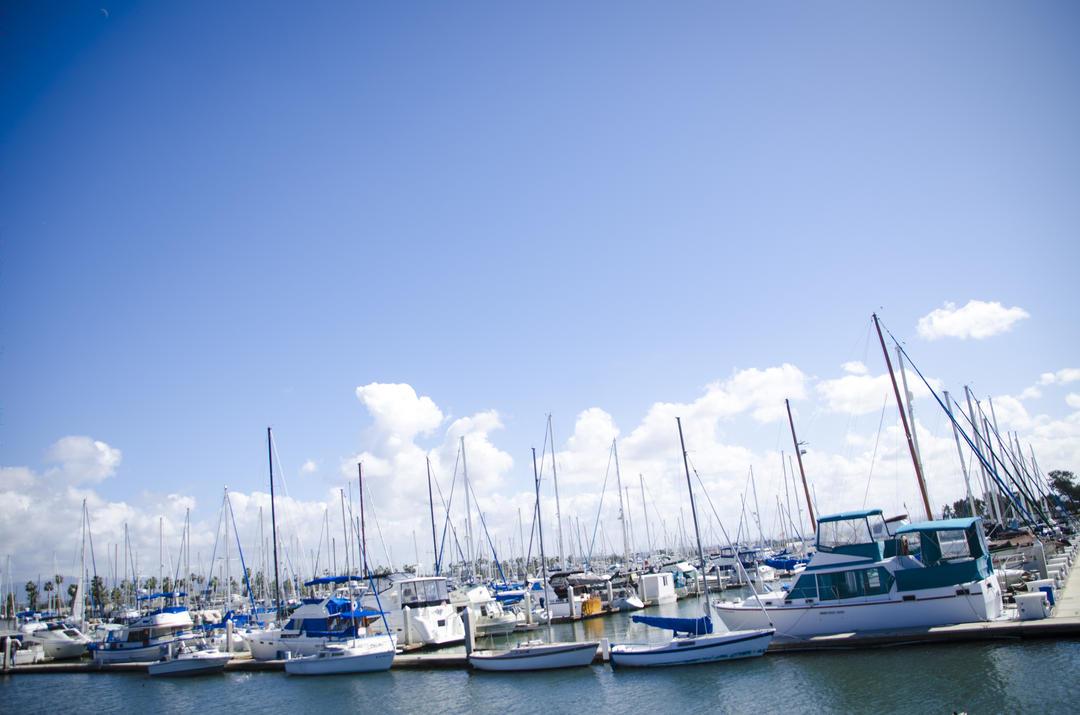 Boats parked in slips at the Chula Vista Marina.
