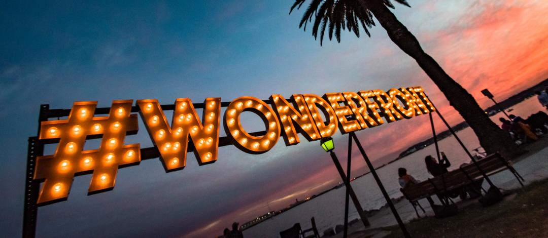 #Wonderfront sign at the Parade of Lights (cropped)