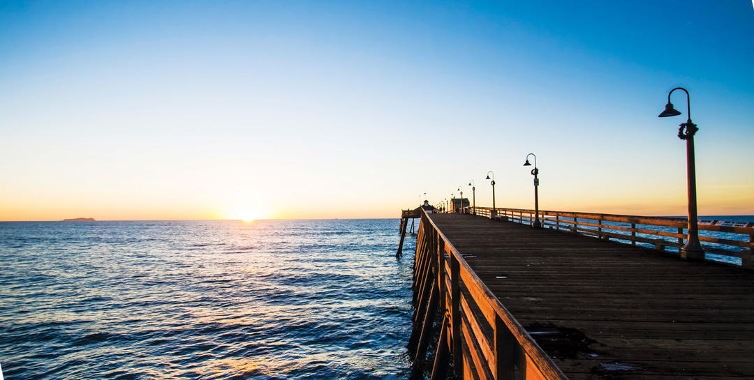 The Imperial Beach Pier stretched into the Pacific Ocean