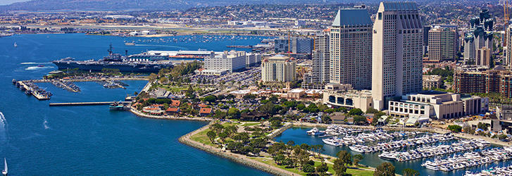 a view of the blue water of San Diego Bay and the Marriott Marina