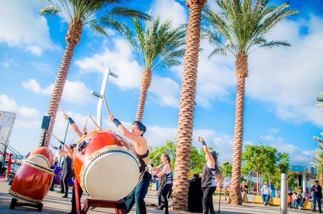Taiko drummers at an event at the Port of San Diego