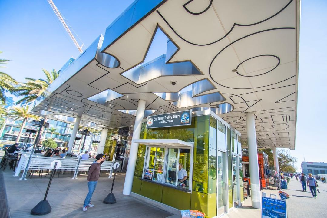 Old Town Trolley Tours and SEAL Tours kiosk at Broadway Plaza at the Port of San Diego