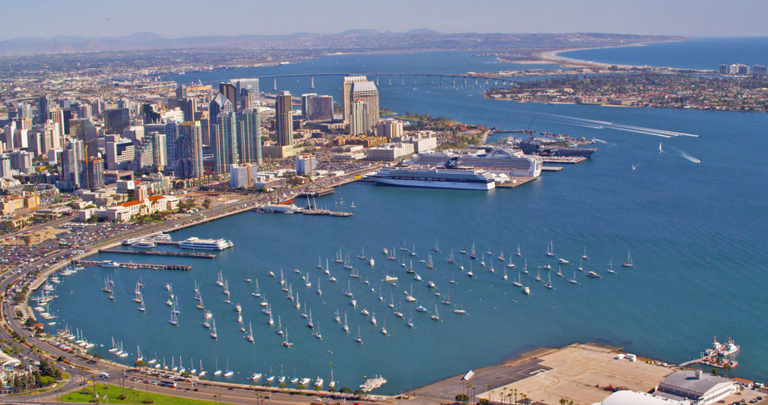an aerial view of the San Diego Bay from above downtown San Diego looking over the water and towards South Bay