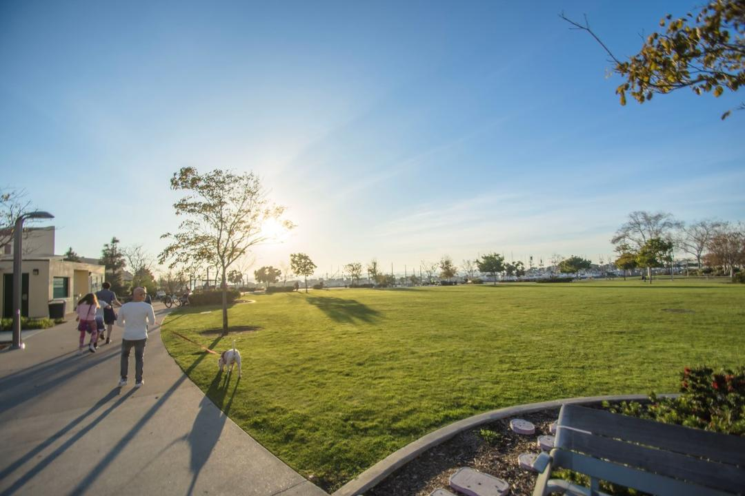 Man walking his dog on a leash over the luscious green grass at Ruocco Park at the Port of San Diego