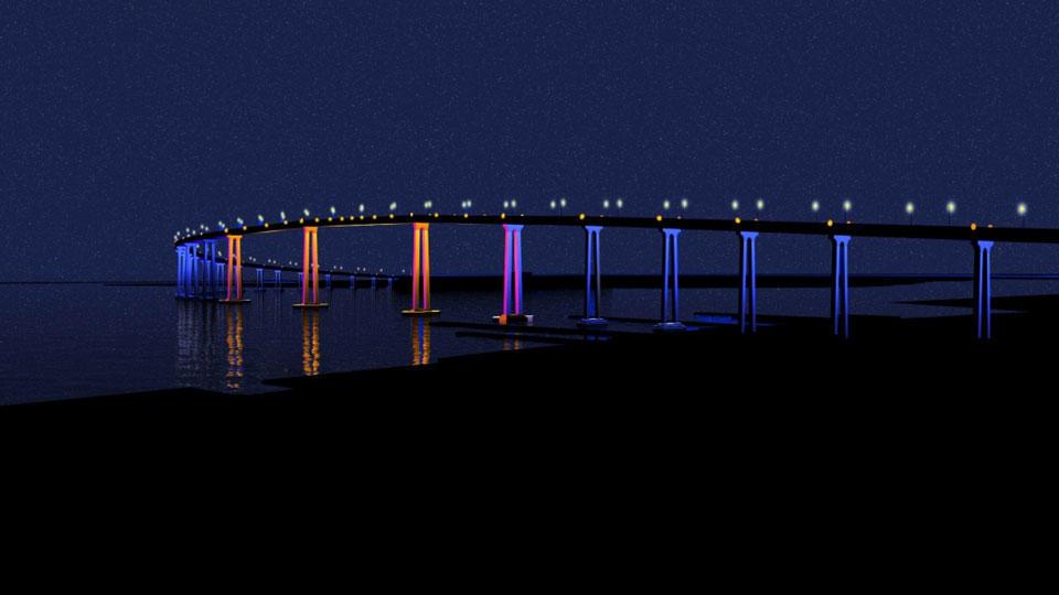 artist renedering of Peter Fink's proposal to light the Coronado bridge