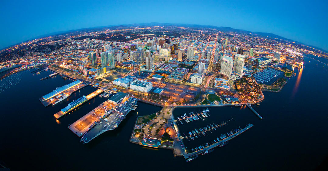 Aerial view of the San Diego bay and downtown San Diego