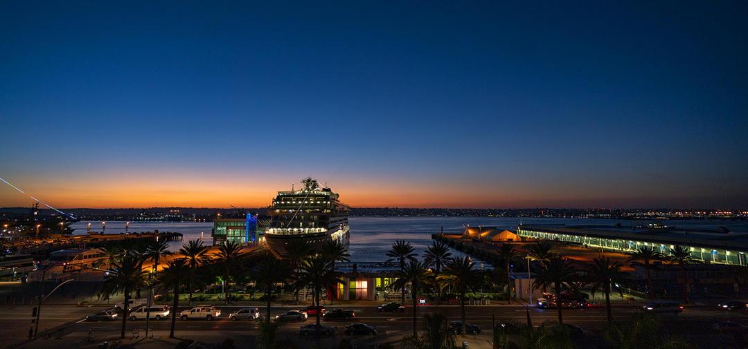 Embarcadero Cruise Ship at Night