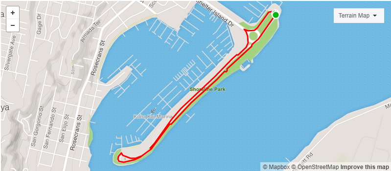 screenshot of an exercise trail map on Shelter island