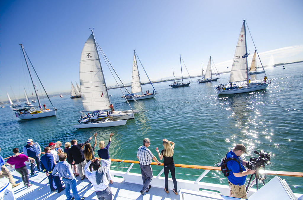 Baja Ha Ha race start- lots of sailboats in the San Diego Bay