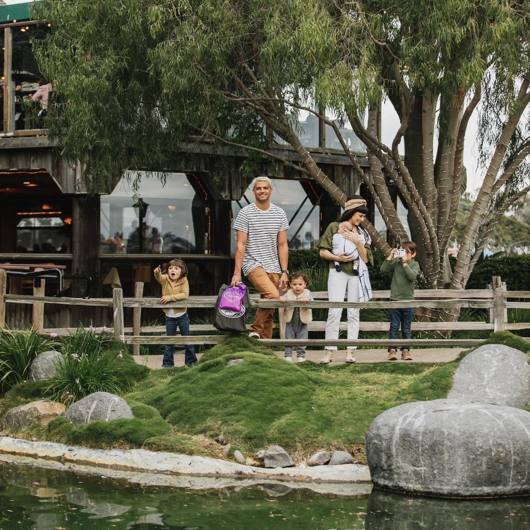 A family enjoying Seaport Village, San Diego