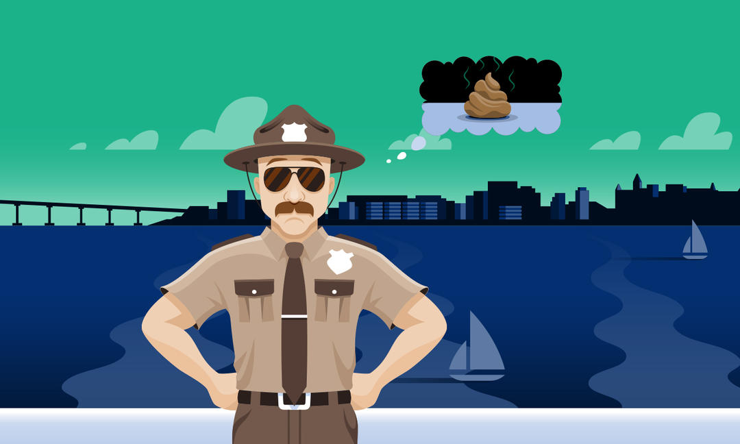 Trash Trooper Troy is animated! He's got his hand on his hip and is thinking about pet poo bringing toxic bacteria to the bay