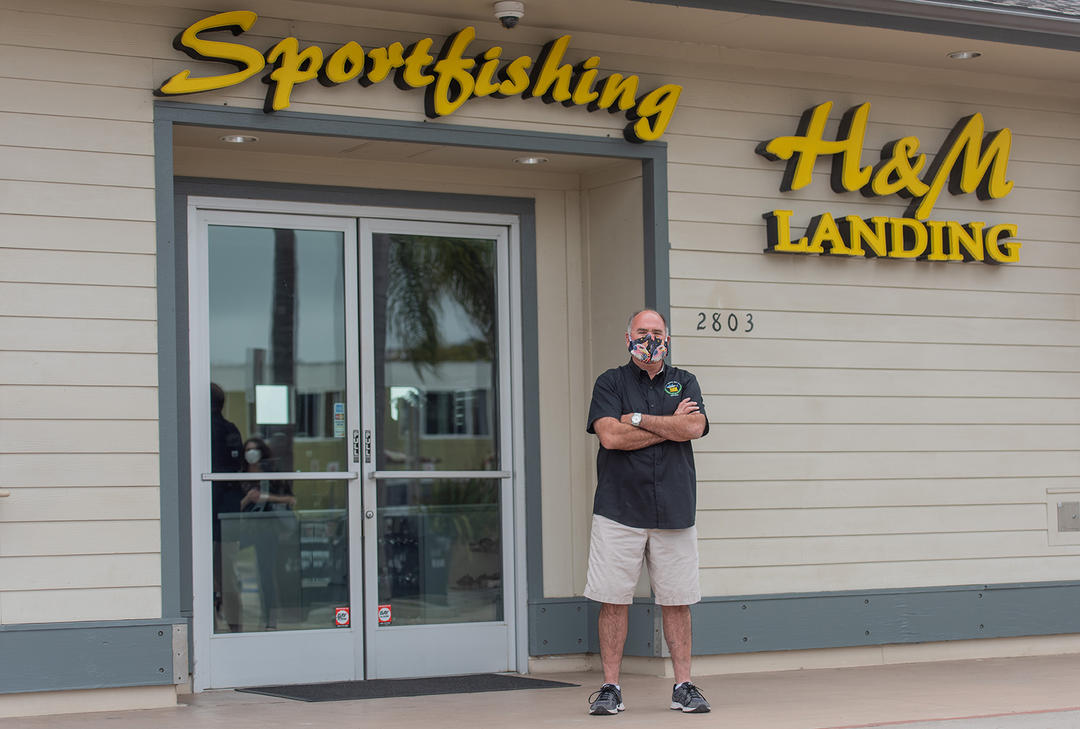 Frank Ursitti is president of United Sportfishers of San Diego Inc. in front of H&M Landing