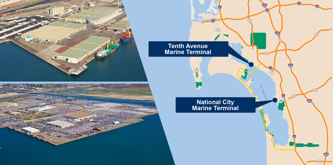 map with the location of the Tenth Avenue Marine Terminal and National City Marine Terminal
