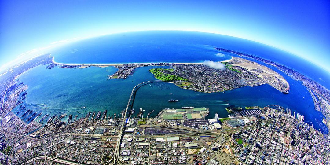 San Diego Bay Fisheye aerial view
