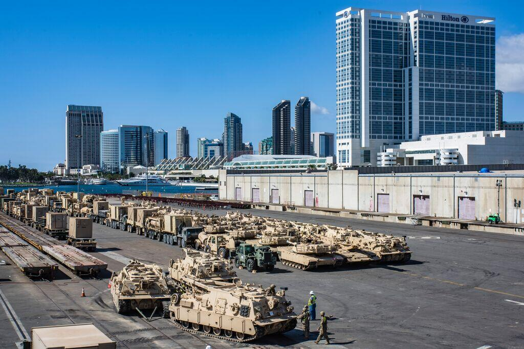 military equipment on the deck at the Port of San Diego Tenth Avenue Marine Terminal