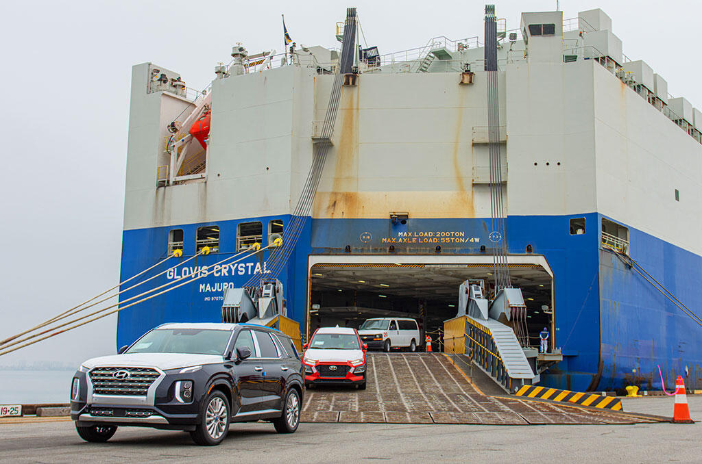 cars roll off of a cargo ship at Port of San Diego National City Marine Terminal