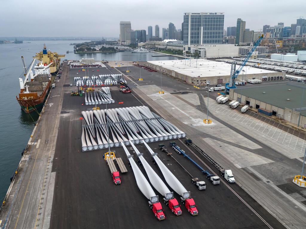Maritime aerial windmill blades Tenth Avenue Marine Terminal