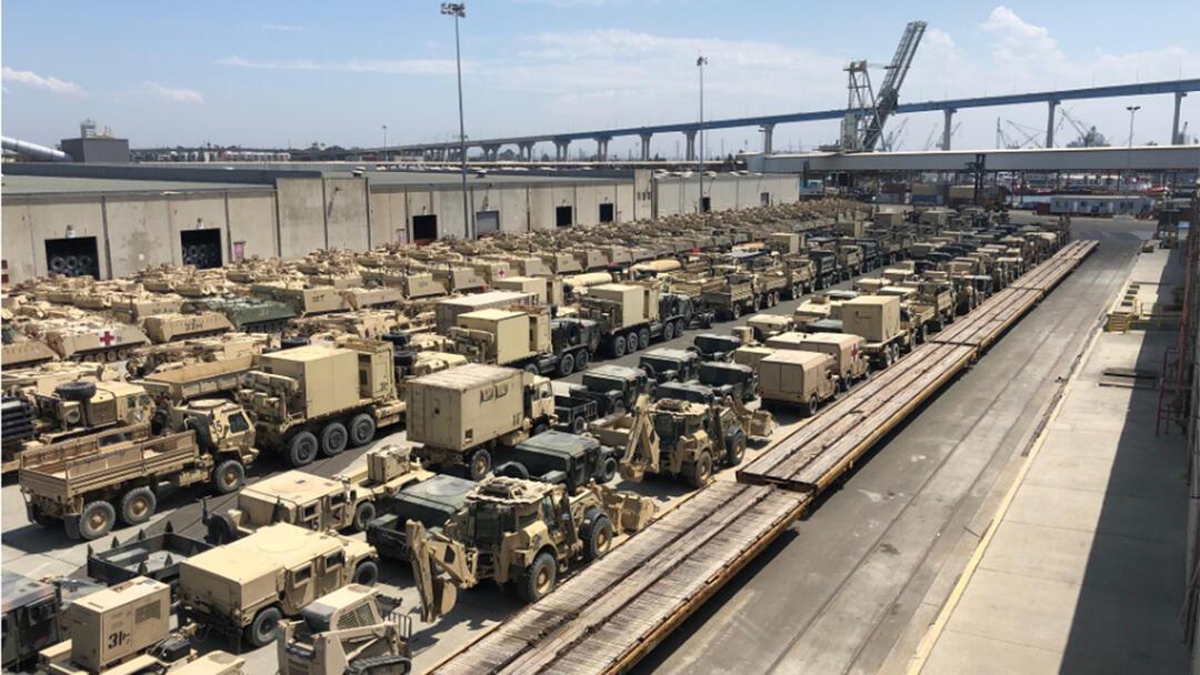 Military equipment on the Tenth Avenue Marine Terminal
