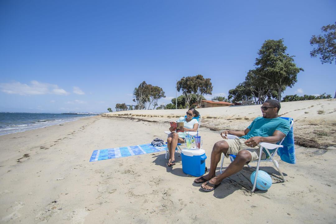 Chula Vista Couple Sitting in Sand Beach