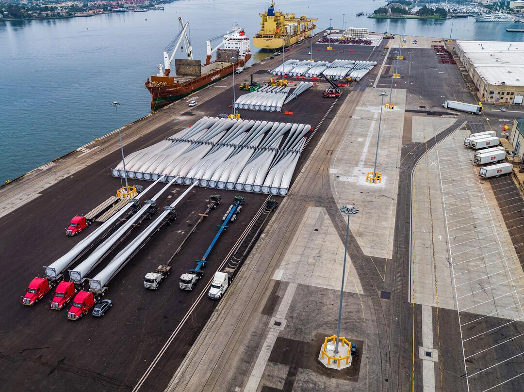 maritime TAMT laydown area with wind turbines