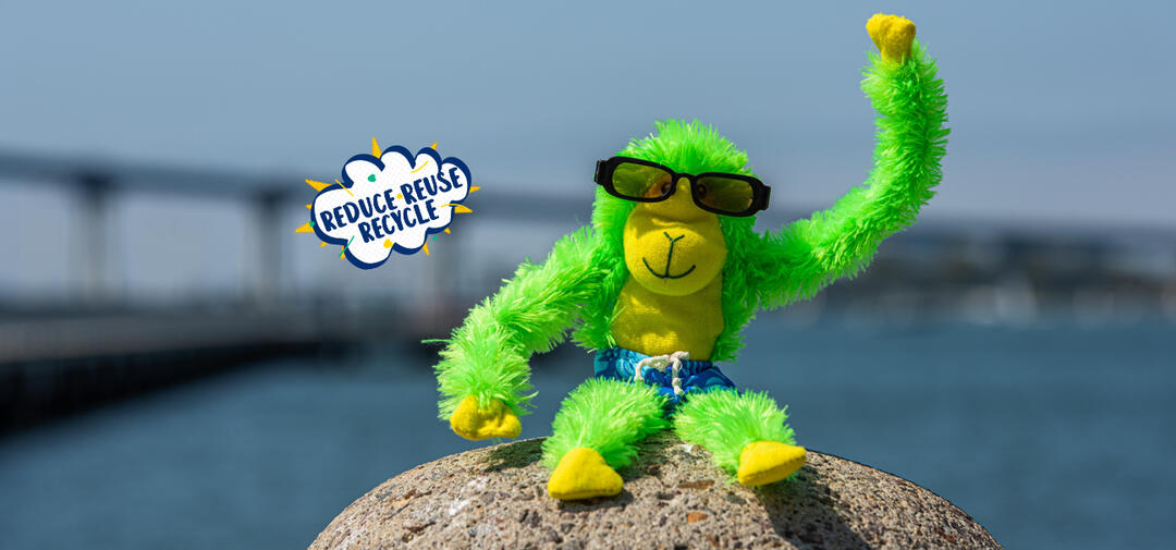 Our favorite green guy, Hang On Hank, is wearing sunglasses and waving