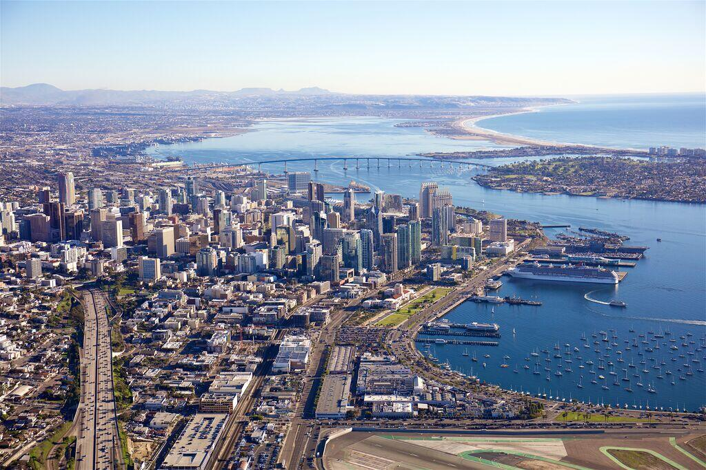 Aerial photo of downtown San Diego looking south over the bay