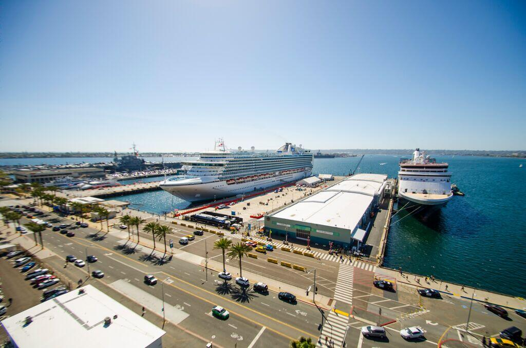 Photo depicts two cruise ships at the Port of San Diego's B Street Cruise Ship Terminal.