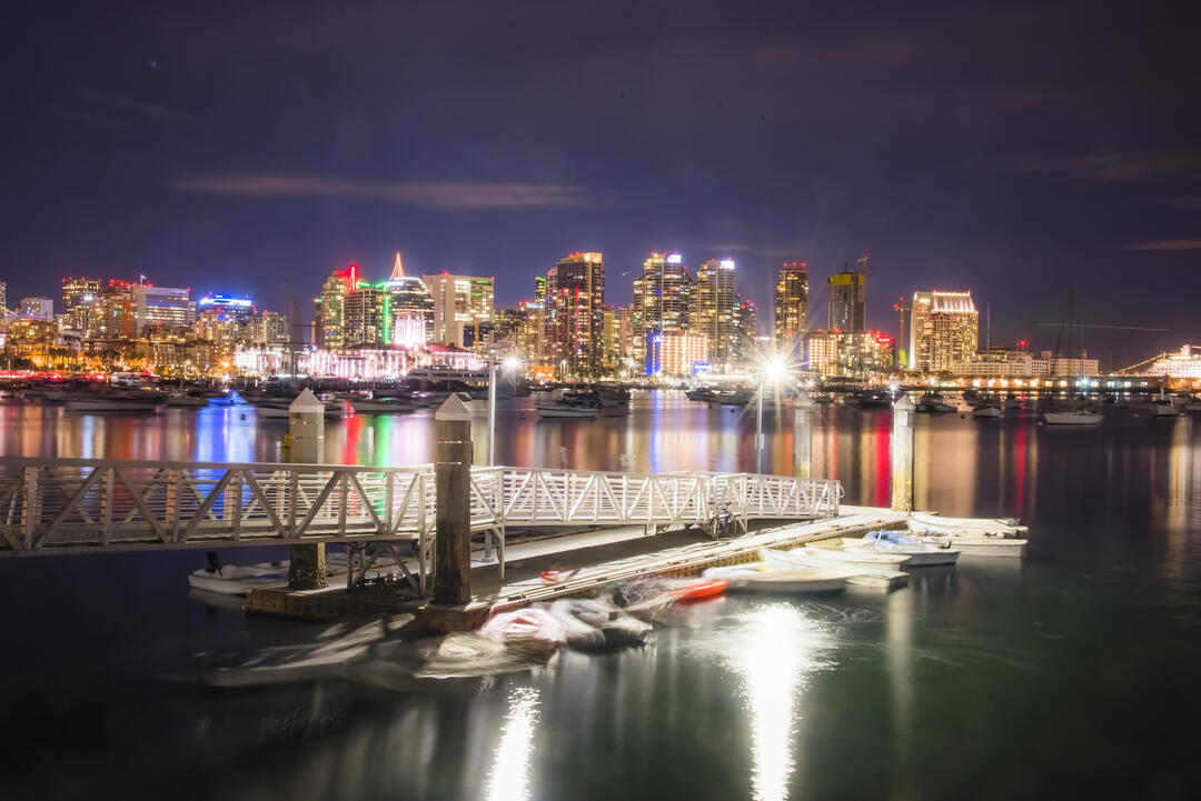 nighttime photo of the lights from San Diego over the Bay