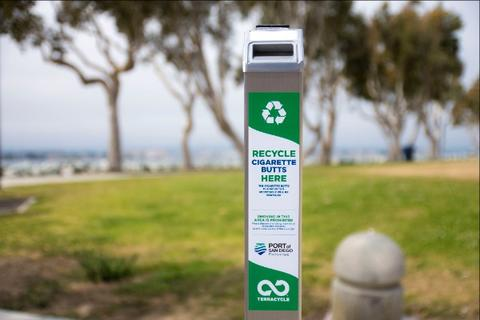 Port of San Diego Installs Receptacles for Cigarette Butt Recycling The Port of San Diego has installed 31 receptacles like this around San Diego Bay.