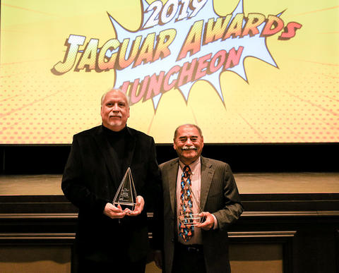 Commissioner Dukie Valderrama and J. Michael Straczynski with their Jaguar awards.