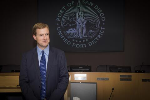 Michael Zucchet begins his term as chairman of the 2021 Board of Port Commissioners.