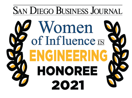 Logo for SDBJ Women of Influence in Engineering 2021