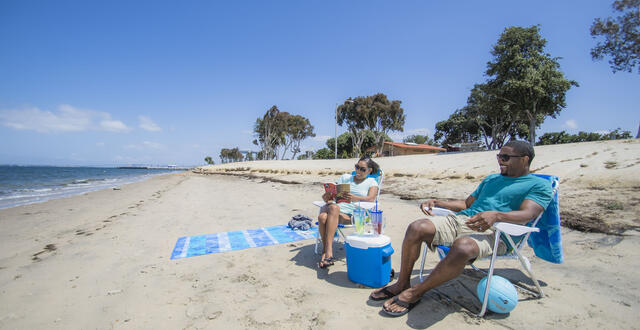 Chula Vista Couple Sitting in Sand Beach