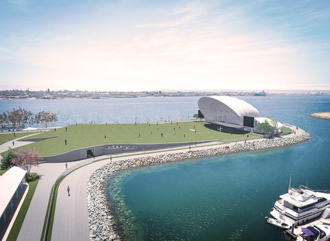 a photo and render of the potential new bayside home of the San Diego Symphony