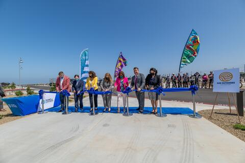 Port of San Diego, City of Chula Vista and Sun Communities, Inc. hold a ribbon cutting event on the Chula Vista Bayfront to celebrate the opening of the Sun Outdoors San Diego Bay RV resort and Sweetwater Bicycle Path & Promenade.