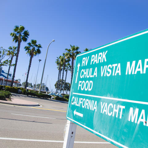 Directional sign points to the Chula Vista Marina.