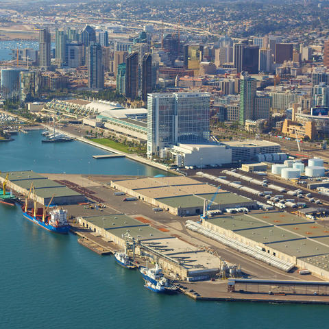 Aerial view of the Tenth Avenue Marine Terminal with the downtown San Diego skyline.