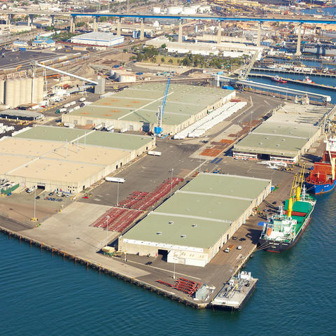 Aerial view of the Port of San Diego's Tenth Avenue Marine Terminal in San Diego.