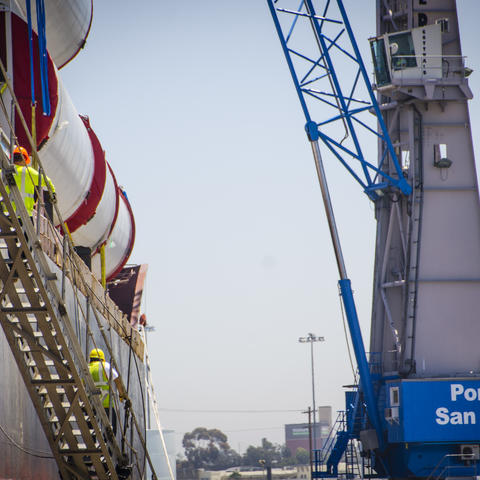 Crane unloads breakbulk cargo at the Port of San Diego's Tenth Avenue Marine Terminal.