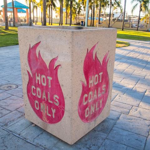 Hot coals disposal bin at Cesar Chavez Park at the Port of San Diego