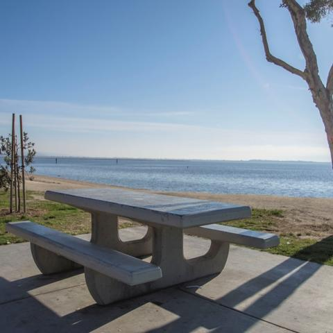 Picnic Table overlooking the water at Chula Vista Bayside Park at the Port of San Diego