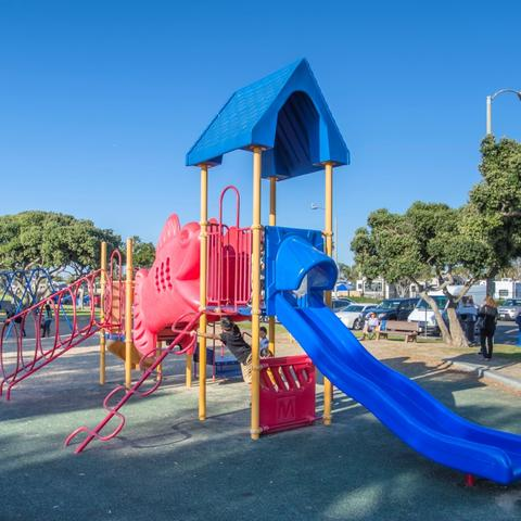 Playground and trees at Chula Vista Bayside Park at the Port of San Diego