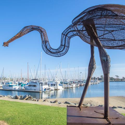 The Fisherman metal sculpture by Stephen Fairfield at Chula Vista Bayside Park at the Port of San Diego