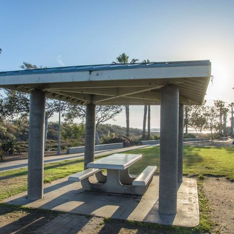 Picnic table under gazebo at Chula Vista Marina View Park at the Port of San Diego