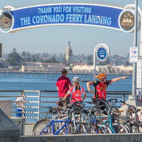 Cyclists at Coronado Landing Park at the Port of San Diego