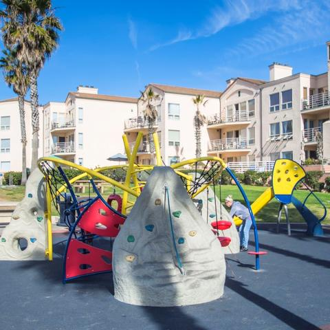 Playground with rock climbing and nets at Dunes Park at the Port of San Diego